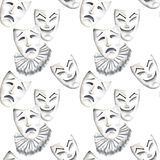 Seamless pattern with theater masks of laughter and sadness emotions. Hand drawn on a white background Stock Photos