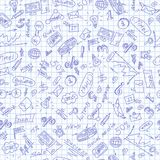 Seamless illustration on the theme of business , simple contour icons, blue  contour  icons on the clean writing-book sheet in a c. Seamless pattern on the theme Royalty Free Stock Photo