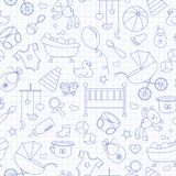 Seamless illustration  on the theme of childhood and newborn babies, baby accessories and toys, simple contour icons, blue  contou. Seamless pattern on the theme Royalty Free Stock Photography