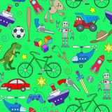 Seamless illustration  on the theme of childhood and toys, toys for boys, color icons on green background Stock Photos