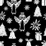 Vector background with Christmas symbols stock image