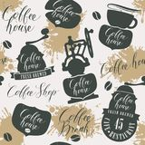 Seamless pattern on theme of coffee house Stock Images
