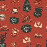 Seamless pattern on theme of coffee house Stock Photos