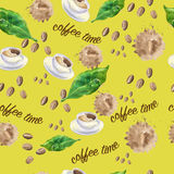 Seamless pattern on the theme of coffee Royalty Free Stock Photography