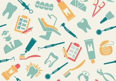 Seamless pattern on the theme of dentistry Royalty Free Stock Photos