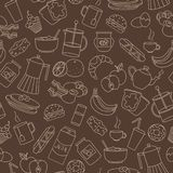 Seamless illustration on theme of food and breakfast , simple contour icons, beige outlines on a brown background. Seamless pattern on theme of food and vector illustration