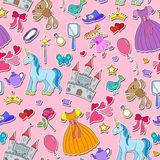 Seamless illustration on the theme of Hobbies baby girls and toys ,stickers icons on pink background Stock Photo
