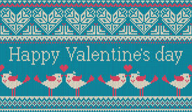 Seamless pattern on the theme of holiday Valentine`s Day with an image of the Norwegian and fairisle patterns. Heart, birds in a k Stock Photos