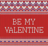 Seamless pattern on the theme of holiday Valentine`s Day with an image of the Norwegian and fairisle patterns. Inscription Be My V Stock Photography