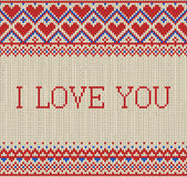 Seamless pattern on the theme of holiday Valentine`s Day with an image of the Norwegian and fairisle patterns. Inscription I LOVE Royalty Free Stock Image