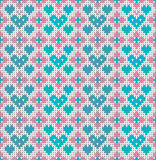 Seamless pattern on the theme of holiday Valentine`s Day with an image of the Norwegian and fairisle patterns. Turquoise hearts on Royalty Free Stock Photography