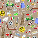 Seamless illustration on the theme of journey in the country of Italy, simple colored icons patches on a brown background Royalty Free Stock Photo