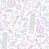 Seamless illustration  on the theme of journey in the country of Italy, simple contour icons   drawn with colored markers on the c. Seamless pattern on the theme vector illustration