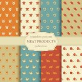 Seamless pattern on a theme of meat products Stock Image