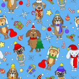 Seamless illustration on the theme of new year and Christmas, funny cartoon dog on blue background Royalty Free Stock Photos