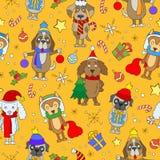 Seamless illustration  on the theme of new year and Christmas, funny cartoon dog on orange background Royalty Free Stock Photo