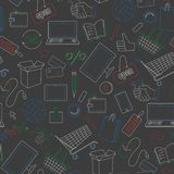 Seamless illustration on the theme of online shopping and Internet shops, simple contour icons are drawn with colored chalks on t. Seamless pattern on the theme vector illustration