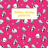 Seamless pattern on the theme of roller derby and roller skating Stock Images