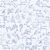 Seamless illustration on the theme of the school, of education and of the subject mathematics, the blue hand-drawn graphics, formu. Seamless pattern on the theme Royalty Free Stock Photography