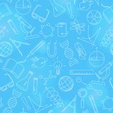 Seamless illustration on the theme of science and inventions, diagrams, charts, and equipment, a light contour icons on blue back. Seamless pattern on the theme vector illustration