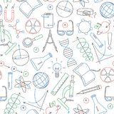 Seamless illustration on the theme of science and inventions, diagrams, charts, and equipment, simple contour icons drawn with col. Seamless pattern on the theme Royalty Free Stock Photography