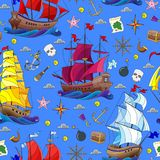 Seamless illustration on the theme of sea travel, sailboats and ship`s tackle on a blue background stock illustration