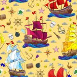 Seamless illustration on the theme of sea travel, sailboats and ship`s tackle on a yellow background. Seamless pattern on the theme of sea travel, sailboats and stock illustration