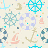 Seamless pattern on the theme of the sea. wheel, boat, life pres royalty free illustration