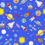 Seamless illustration on the theme of space and space travel color icons on blue  background Royalty Free Stock Photos