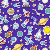 Seamless illustration on the theme of space and space travel color sticker icons on blue background Stock Photo
