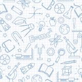 Seamless illustration  on the theme of the subject of physics education, blue  contour  icons on the clean writing-book sheet in a. Seamless pattern on the theme Royalty Free Stock Photos