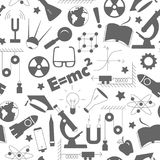 Seamless illustration  on the theme of the subject of physics education, simple dark silhouettes of icons on white background. Seamless pattern on the theme of Stock Photos