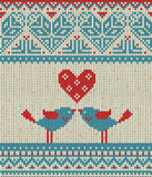 Seamless pattern on the theme of Valentine's Day with an image of the Norwegian patterns and hearts. Figure showing Royalty Free Stock Photos