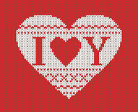 Seamless pattern on the theme of Valentine's Day with an image of the Norwegian patterns and hearts. Wool knitted Stock Photo