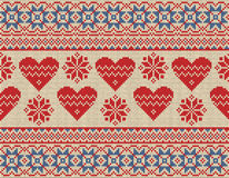 Seamless pattern on the theme of Valentine's Day with an image of the Norwegian patterns and hearts. Wool knitted royalty free illustration