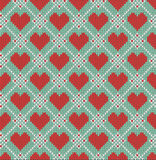Seamless pattern on the theme of Valentine's Day with an image of the Norwegian patterns and hearts. Wool knitted. Texture. Vector Illustration Royalty Free Stock Photos