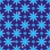 Seamless illustration on the theme of winter and winter holidays, the contour of the snowflake and sters, white snowflakes on a b. Seamless pattern on the theme Stock Illustration