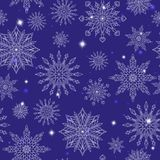 Seamless illustration on the theme of winter and winter holidays, the contour of the snowflake and sters, white snowflakes on a bl Royalty Free Illustration
