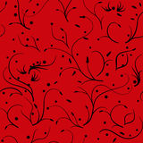 Seamless pattern with thin stems and flowers, black on red Royalty Free Stock Images