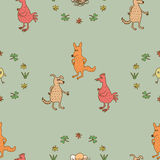 Seamless pattern three animals. Seamless pattern illustrated the conversation of a dog, a cock and  a fox Stock Images