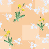Seamless pattern of three bushes yellow dandelions and wild small white flowers on a beige background with geometric shapes. Water Royalty Free Stock Image