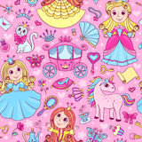 Seamless pattern with three cute little princesses. Vector cartoon background Royalty Free Stock Photography