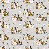 Seamless pattern three horses on a gray background Stock Photo