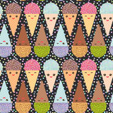 Seamless pattern with three Kawaii mint raspberry chocolate Ice cream waffle cone funny muzzle with pink cheeks and winking eyes, Royalty Free Stock Image