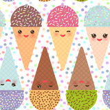 Seamless pattern with three Kawaii mint raspberry chocolate Ice cream waffle cone funny muzzle with pink cheeks and winking eyes, Royalty Free Stock Photography