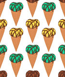 Seamless pattern with three scoops ice cream inside the waffle cone Royalty Free Stock Photography
