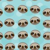 Seamless pattern Three-toed sloth muzzle on blue Royalty Free Stock Photos