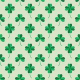 Seamless Pattern Tiling with Green Clover Leaves. Royalty Free Stock Photography