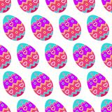 Seamless pattern of tilted multicolored easter eggs. Seamless pattern of tilted multicolored eggs having pattern of heart and zigzag lines Royalty Free Stock Photography