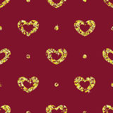 Seamless pattern with tinsels hearts Stock Image